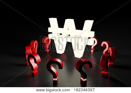 3d illustration white krw sign over red question marks on black