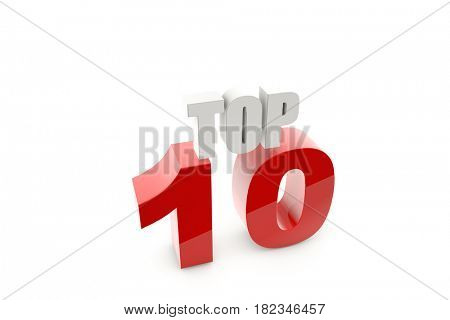 3d illustration isolated number 10 on white