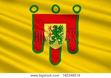 Flag of Puy-de-Dome is a department in the centre of France. 3d illustration