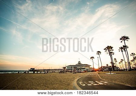 sunset at the Santa Monica Pier in California