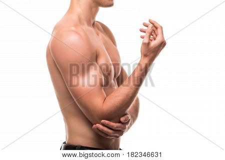 Man With Pain In Elbow. Hand Pain Isolated On White Background