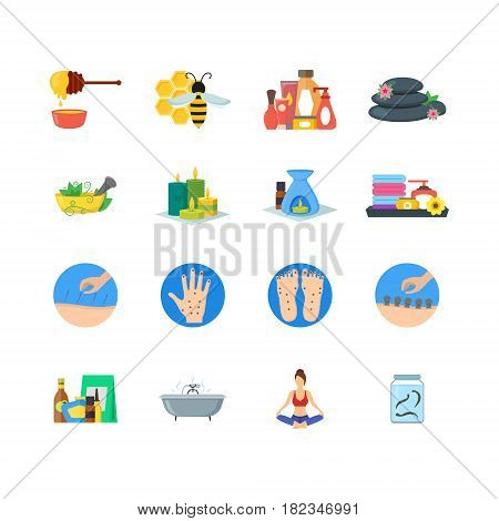 Cartoon Alternative Medicine Colorful Icons Set Flat Style Design Elements. Vector illustration of Spa, Yoga, Aromatherapy and Apitherapy