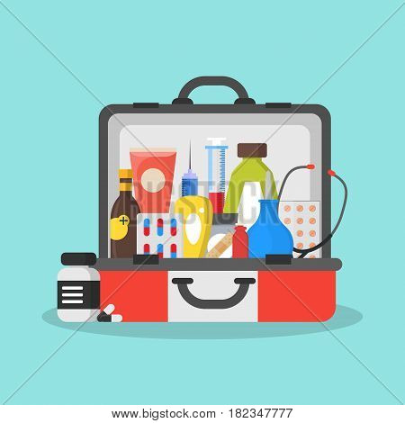 First Aid Kit Box or Suitcase Flat Style Design Emergency Healthcare Concept. Vector illustration