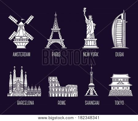 Vector collection of illustration of national landmarks. Symbol of world's country. Set of icons of tourist attractions. Thin line art design on dark background for card, web, site, tourist banner