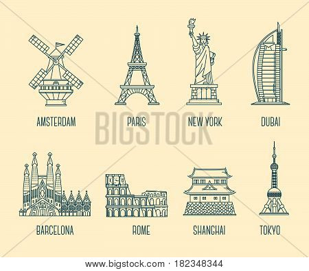 Vector collection of illustration of national landmarks. Symbol of world's country. Set of icons of tourist attractions. Thin line art design on light background for card, web, site, tourist banner