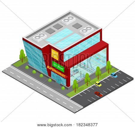 Supermarket Building Isometric View Shop or Store Urban Architecture Modern Exterior Facade for Web . Vector illustration