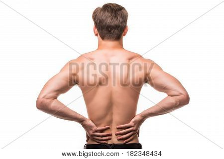 Close Up Of Man Rubbing His Painful Back On White Background