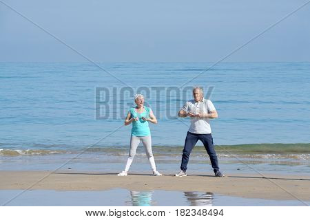 Senior couple doing stretching exercices on the beach