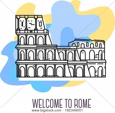 Vector illustration of coliseum. Rome landmark. Symbol of Italy. Sight-seeing of Europe. Thin line art design on abstract blue and yellow background with text for card, web, site, tourist banner