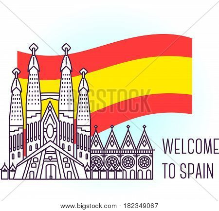 Vector illustration of catholic cathedral. Barcelona landmark. Symbol of Spain. Sight-seeing of Europe. Thin line art design on light background with national flag and text for card, web, site, tourist banner