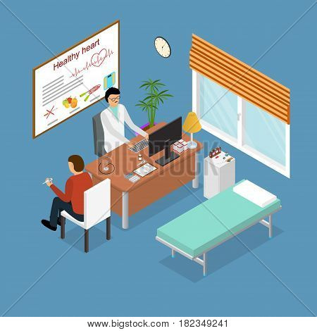 Patient and Doctor Appointment Isometric View. Consultation Specialist in Cabinet Interior of Clinic Vector illustration
