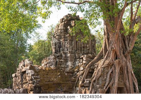 Siem Reap, Cambodia - Feb 4 2015: Ta Som At Angkor. A Famous Historical Site(unesco World Heritage S