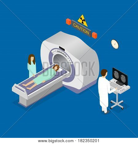 Patient, Nurse and Doctor Diagnostic Scanner Tomography Isometric View. Interior of Clinic. Vector illustration