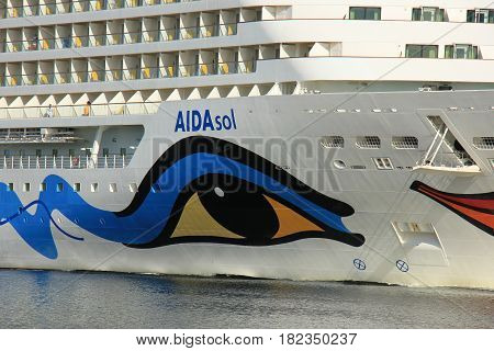 Velsen the Netherlands -April 19th 2017: Aida Sol on North Sea Canal on it's way to the Amsterdam Cruise Terminal detail of bow
