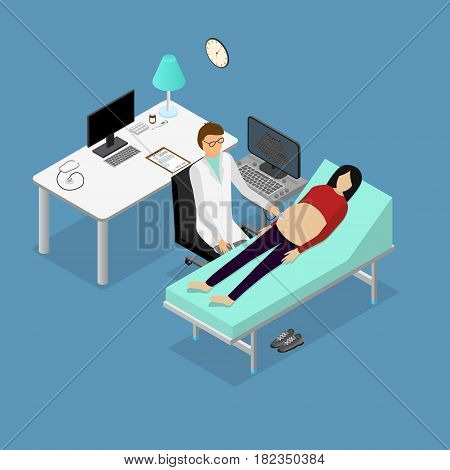 Pregnancy Woman and Doctor with Ultrasound Appointment Isometric View. Professional Reproduction Care and Services Vector illustration