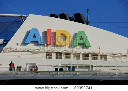 Velsen the Netherlands -April 19th 2017: Aida Sol on North Sea Canal on it's way to the Amsterdam Cruise Terminal detail of ship