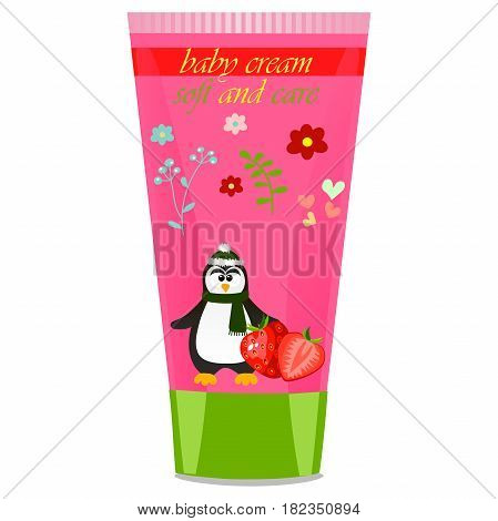 High quality original trendy vector Baby cream tube with kids design and pinguin, strawberry illustration
