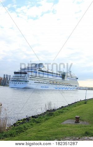 Velsen the Netherlands -April 19th 2017: Aida Sol on North Sea Canal on it's way to the Amsterdam Cruise Terminal