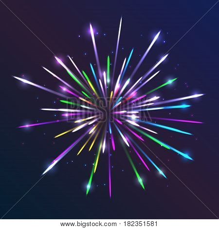 Vector Fireworks. Abstract background with bright lines and particles. Glowing light effect. Creative template with sparks. Geometric vector illustration for party celebration. Colorful modern design