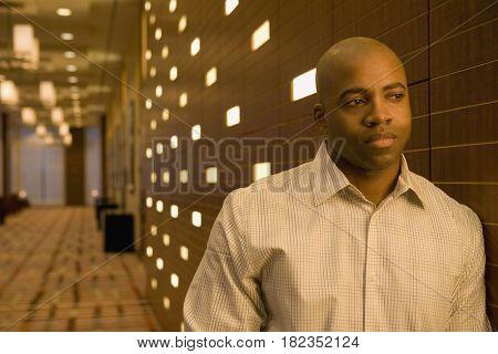 African businessman looking worried