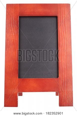 Blank wooden notice blackboard advertising handheld sandwich stand