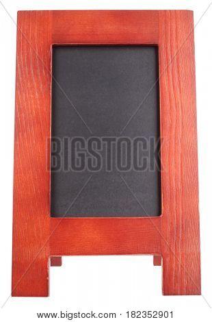 Blank wooden notice blackboard advertising handheld sandwich stand