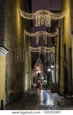 TALLINN ESTONIA - JANUARY 29 2017: Night Tallinn night view of the street Tallinn Estonia.