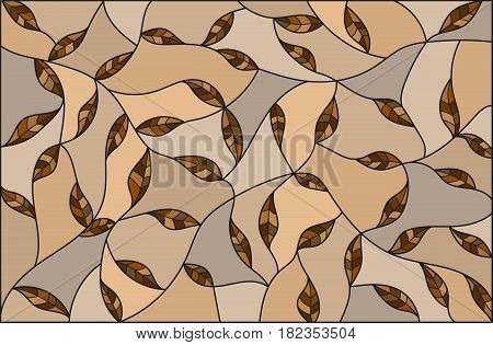 Illustration in the style of stained glass with brown leaves on a beige background monochrome