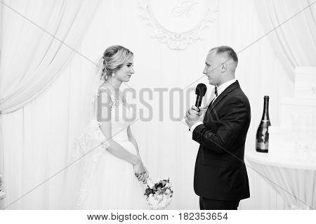 Groom Speech, Talking With Microphone For His Bride At Wedding Ceremony.