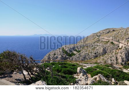 A winding road on the rocky coast of Mallorca