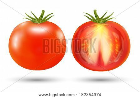a real red tomato on a white background