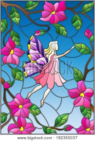 Illustration in stained glass style with a winged fairy in the sky pink flowers and greenery