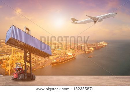 International Commercial Transportation Business And Logistics Industrial Concept Background