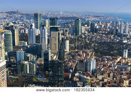Panorama of the city of Istanbul from the observation platform Sapphire skyscraper multi-storey building