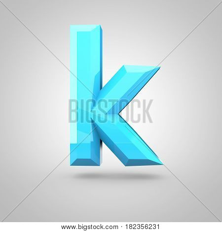 Blue Low Poly Alphabet Letter K Lowercase Isolated On White Background.