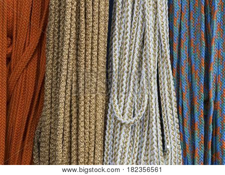 Background of coils of a rope shot close-up