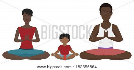 African american family Yoga vector illustration. Lotus position isolated