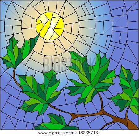 Illustration in stained glass style with green branches of maple tree on sky background and sun