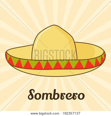 Sombrero icon for you design in simple cartoon style. Vector illustration. Holiday Collection.