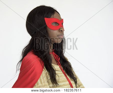 African descent superwoman in a shoot