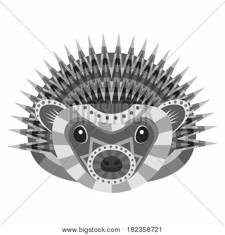 Hedgehog Head Logo. Vector decorative Emblem isolated