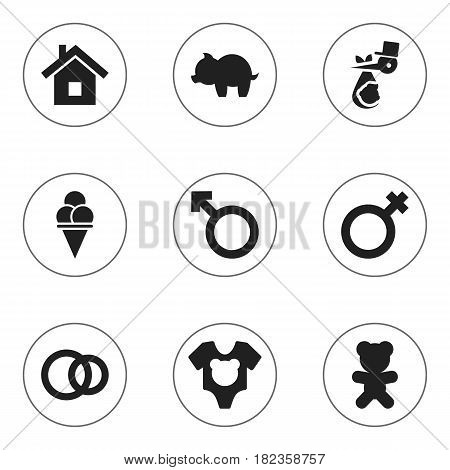 Set Of 9 Editable Relatives Icons. Includes Symbols Such As Man Emblem, Moneybox, Home And More. Can Be Used For Web, Mobile, UI And Infographic Design.