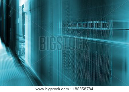 Abstract big data center highspeed server storages with motion blur