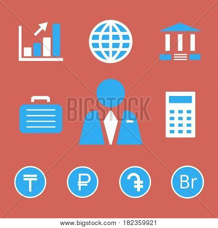 Finance and bank icons with currency symbols of tenge, russian ruble, dram and belarusian ruble.