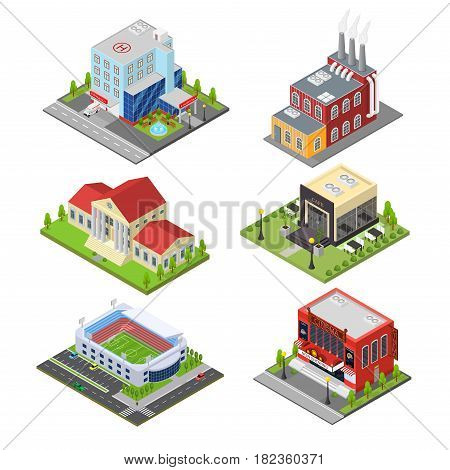Cinema, Bank, Cafe, Football Arena, HospitalFactory or Industrial Building of City Isometric View Modern Exterior Facade. Vector illustration