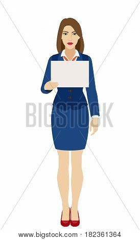 Businesswoman holding a paper. Full length portrait of businesswoman character in a flat style. Vector illustration.