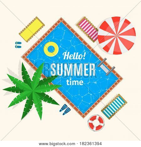 Hello Summer Time with Swimming Pool Card or Poster Top View Concept of Tourism and Rest. Vector illustration