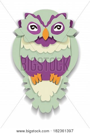 Beauty owl in paper style. Isolated illustration can be used in printing: card, t-shirt, phone case, mug, bag and so on.