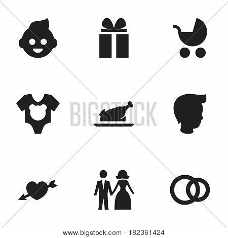 Set Of 9 Editable Kin Icons. Includes Symbols Such As Gift, Love, Baby And More. Can Be Used For Web, Mobile, UI And Infographic Design.