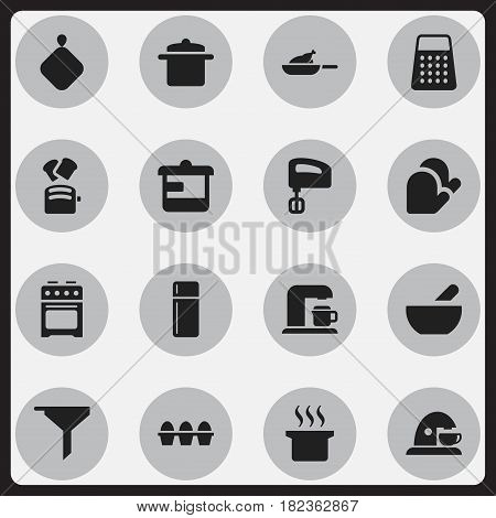 Set Of 16 Editable Meal Icons. Includes Symbols Such As Agitator, Stove, Cookware And More. Can Be Used For Web, Mobile, UI And Infographic Design.